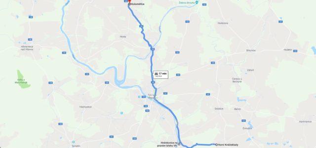 Silnice: Horní Kněžeklady – Hněvkovice na pravém břehu Vlt. – Koloměřice cca 15 km malý provoz poměrně dobrý povrch a viditelnost